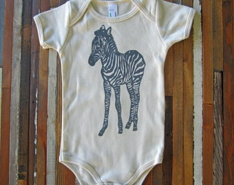 Eco Friendly Baby - Organic Cotton Onesie - Screen Printed American Apparel Baby Onesie - Zebra - One Piece - Handmade (You pick size)