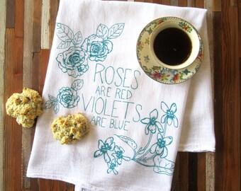 Tea Towel - Screen Printed Flour Sack Towel - Eco Friendly Dish Towel - Kitchen Towel - Roses - Kitchen Towel - Christmas Gift Tea Towels