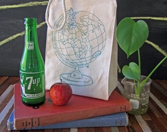 Lunch Bag - Screen Printed Recycled Cotton Lunch Bag - Reusable and Washable - Eco Friendly - Handmade - Lunch Box - Globe - Canvas Tote Bag