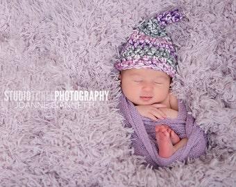 Newborn Baby Gnome Hat Purple Gray Pink