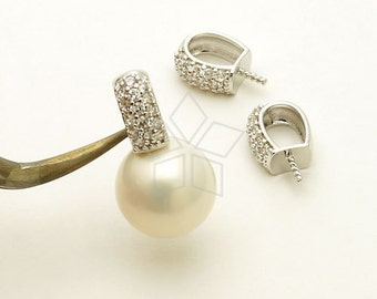 PD-765-OR / 1 Pcs - Elegant CZ Pendant for Half Drilled Pearl, Silver Plated over Brass / 4.3mm x 9mm