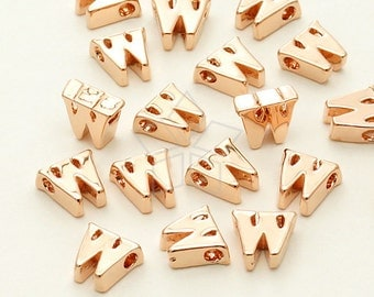IN-282-RG / 2 Pcs - Initial Tiny Pendant, Alphabet, Lower Case, Small Letter, w, Rose Gold Plated over Brass / 5mm x 6mm