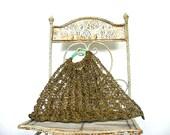 Vintage 60s Handbag - crochet bag - bronze bag - metal handbag - boho -beach bag - vacation tote