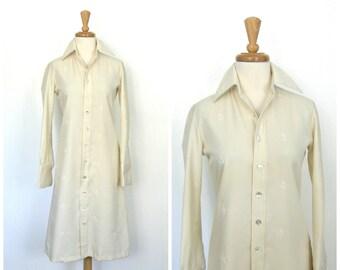 1960s Dress - 60s shift dress - shirt dress - shirtdress - courthouse wedding - bridal - sheath - cream dress - I Magnin - medium