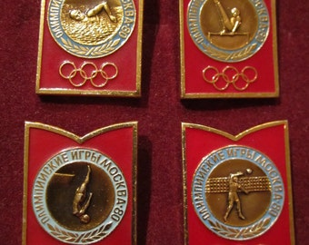 Set of 4 Vintage USSR CCCP  Olympics Game Moscow 1980 Collectible Badges Pins
