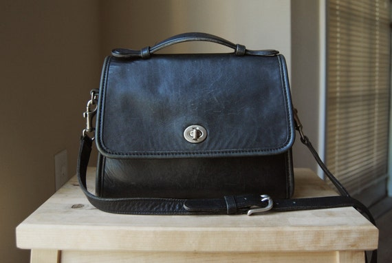 Authentic Coach Court Bag - Made in USA - Black Leather Crossbody Satchel Bag with Flap and Turnlock Closure
