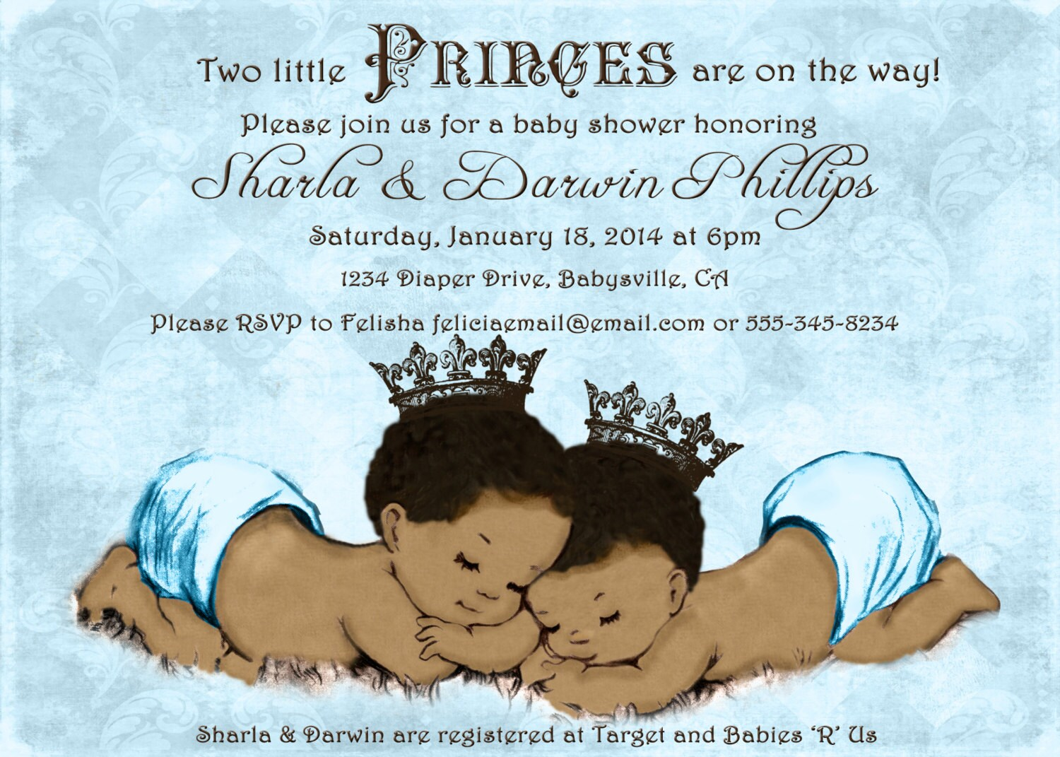 prince twins baby shower invitation for twin boys by jjmcbean, Baby shower invitations
