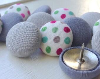Gray Thumbtacks,15 Push Pins,Pushpins,Thumbtacks,Thumb Tacks,Home Decor,Office Decor,Coworker Gift,Dot Push Pins,Teacher Gift,Organization