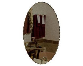 "22"" x 32"" Front Chipped Frameless Oval Wall Mirror"