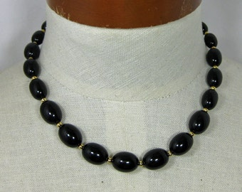 18 Inch Black Necklace signed MONET