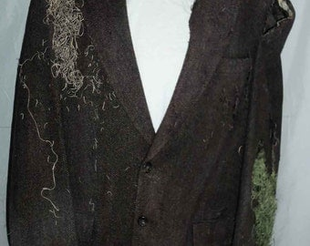 One of a Kind Halloween Custom Designed Handmade Distressed Zombie Costume Jacket with Moss