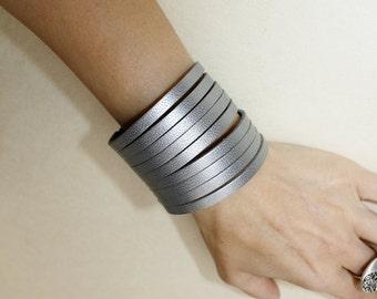 SALE Sliced Metallic Gray  Leather Cuff Bracelet / Silver Cuff