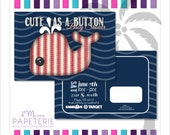 Set of Printed Nautical Cute as a Button Baby Shower Postcards