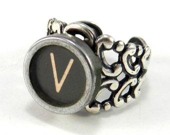 Vintage Typewriter Ring, Steampunk Ring,  Letter V Ring - Name Ring - Custom Initial Ring - Silver Adjustable Ring