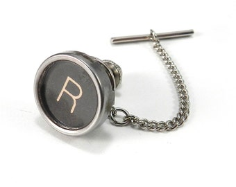 Steampunk Tie Tack Men's Initial R Vintage Typewriter Key Tie Pin by Compass Rose Design