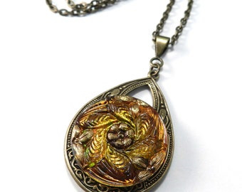 Vintage AMBER Mandala Glass Boho ANTIQUE BUTTON Necklace - Victorian Bohemian Steampunk Jewelry by Compass Rose Design