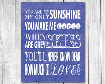 You Are My Sunshine Lyrics Typography Textured Digital Art Print