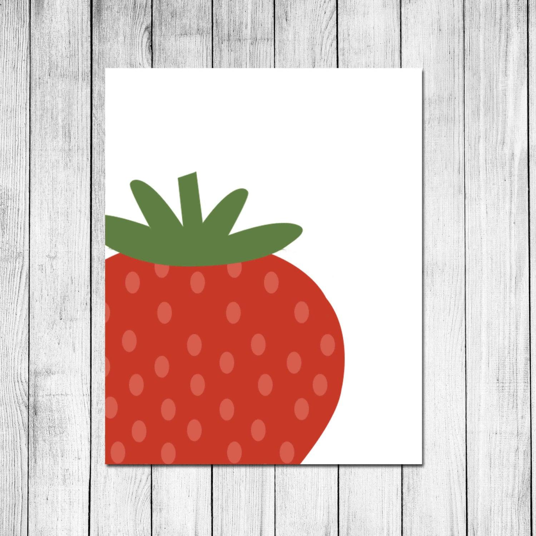 Https Etsy Com Listing 205030279 Strawberry Kitchen Decor Digital Art