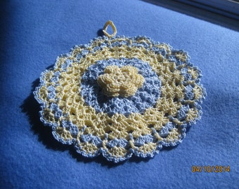 Handmade Crocheted Potholder  Vintage style Roses and Shells Yellow and Blue  NEW