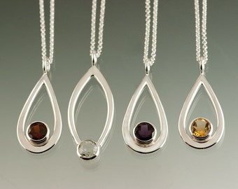 One Sterling Silver Pendant with 8mm Gemstone of your choice: Amethyst, Peridot, White Topaz, Citrine, Blue Topaz, or Garnet.  Large size