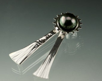 Tahitian Black Pearl Sterling Silver Pendant and Brooch, Ready to Ship, OOAK, Brooch #16