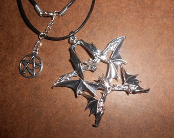 Bat Pentacle Gothic Necklace Ancient Ways Magical Witch's Amulet