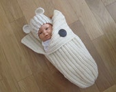 Baby Bunting and Hat Set...Cocoon and Hat with Ears...Boy Oh Boy