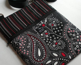 Black White Red Paisley Dots Stripes Fabric iPad Kindle Nook  E Reader Passport Travel Messenger Hip Passport Bag Sling Washable