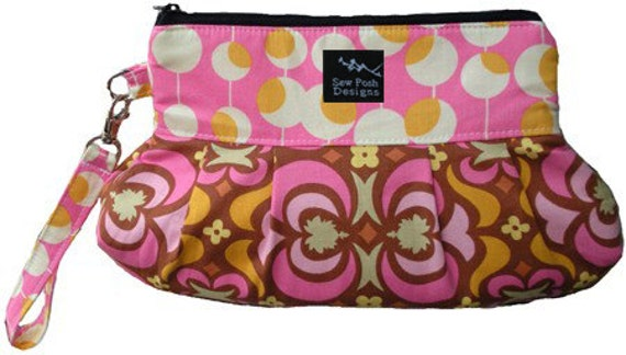 Wristlet Clutch Pleated Zipper Iphone Smart Phone Pouch Key Fob Washable Amy Butler Pink Yellow Orange Fabric- Garden Maze