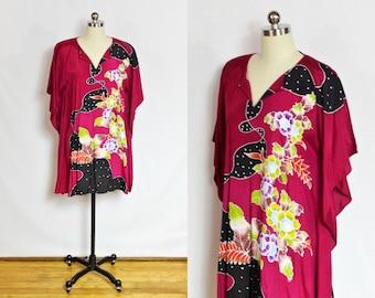 Vintage Magenta pink floral caftan dress