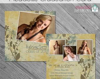 INSTANT DOWNLOAD - Meadows Graduation Announcement- Double-sided 5x5 template on WHCC and Pro Digital Photos specs