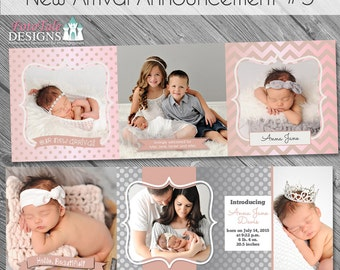New Arrival Baby/Birth Announcement 5- custom 5x5 trifold card templates for photographers on WHCC, Millers Lab and Pro Digital Photos Specs