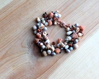 copper goldstone bracelet / pearls / buri nut / seashells / gemstone purity bracelet
