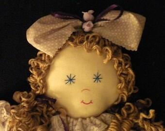 TESSIE Muslin Fabric Plush Folk Art Country Rag Doll - OOAK