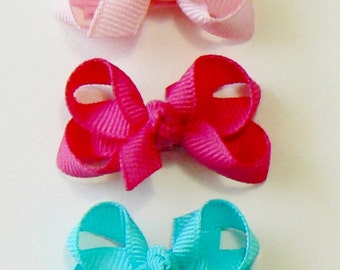 Girls Infant Hair Bow Set Newborn Small Tiny Little Baby Bows Childrens Kids Boutique Hair Clip Hairbows (Set of 5) snap clips
