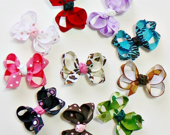 Infant Hair Bow Set Newborn Girls Small Tiny Little Baby Bows Printed Ribbon Hair Clip Hairbows (Set of 10)
