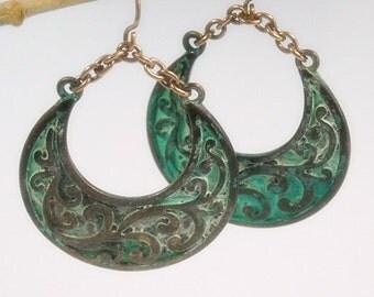 Sale| Bohemian Crescent Earrings turquoise boho earrings Bohemian jewelry Stamped Copper Verdigris Patina Crescent Earrings Rustic Art Deco