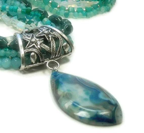 Seabreeze Necklace Mixed Gemstones Multistrand Ocean Blue Beach Summer Chunky