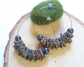 Boho beaded hoop earring- Mixed metal hoop earring-tribal, earthy