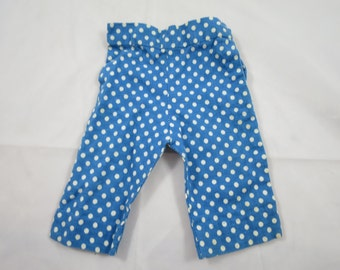 Vintage Doll Pants Blue Polka Dot Doll Pants 1940's Hand Made Doll Pants  4 inch Waist 7 inches Long Mid Century Doll Clothes