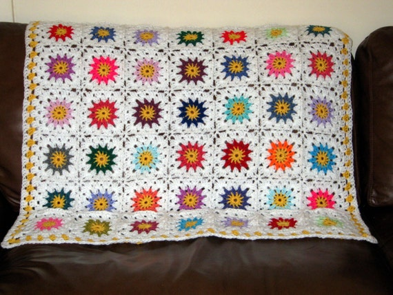 Flower Granny Square  White Crochet Blanket Afghan