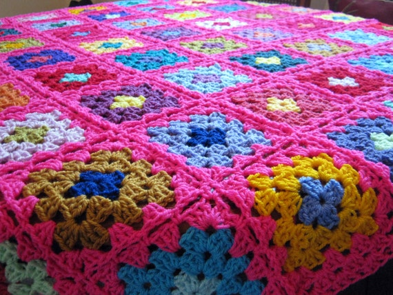 Crochet Afghan Blanket Pinktastic Pink Granny Square Sofa Throw In Stock Ready to Ship