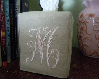 "Tissue Box Cover -  Made To Order - Monogrammed Linen Tissue Cover Special French Lettering ""M"""