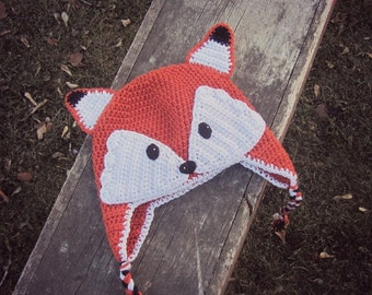 FOX Hat for Kids, Crochet Fox Ear Flap Hat, Animal Hat