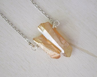 Peachy Mystic Quartz Points Necklace - Natural Crystal Rock Stone Pendant Necklace Silver Chain stone no.6