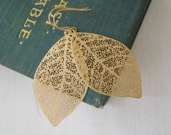 Leaf Earrings - Gold Leaves on Gold French Hook Earwires