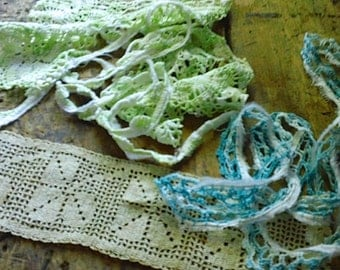 Vintage LACE Trim LOT - 3 types, colors
