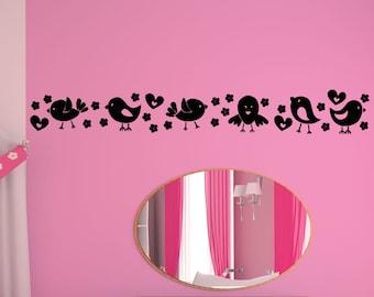 Vinyl Wall Art Decal Sticker Cute Bird Line OSAA1706s