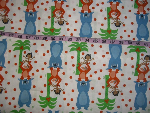 Jungle book fabric mowgli baloo disney kids quilting sewing for Childrens jungle fabric