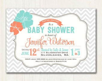 Teal and Orange Floral Baby Shower Invitation | Printable Invitation